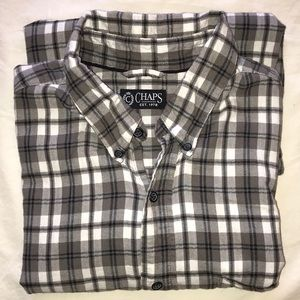 Chaps men's long sleeve gray flannel shirt large